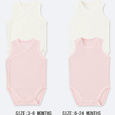 NEWBORN AIRism MESH SLEEVELESS BODYSUIT (SET OF 2), PINK, medium