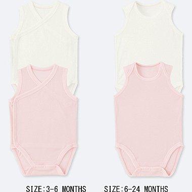 BABY AIRism MESH SLEEVELESS BODYSUIT (SET OF 2), PINK, medium