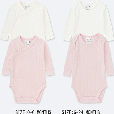 NEWBORN CREW NECK LONG-SLEEVE BODYSUIT (SET OF 2), PINK, medium