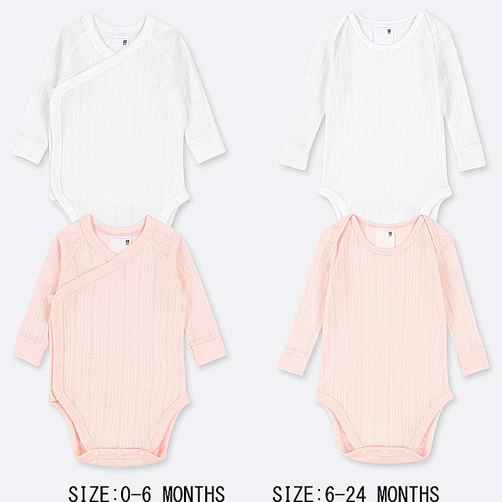 NEWBORN CREW NECK LONG-SLEEVE BODYSUIT (SET OF 2), PINK, large