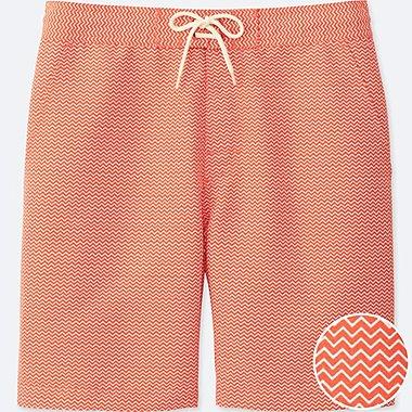 Men Swim Active Printed Shorts, ORANGE, medium