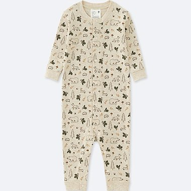 BABY LONG-SLEEVE ONE-PIECE OUTFIT, BEIGE, medium