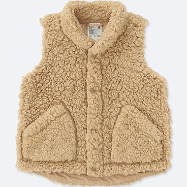 TODDLER FLUFFY YARN VEST, BEIGE, medium