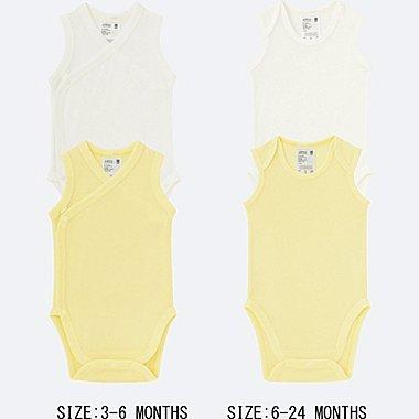 BABY AIRISM MESH SLEEVELESS BODYSUIT 2-PACK, YELLOW, medium