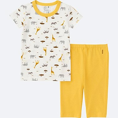 TODDLER DRY PAJAMAS SHORT SLEEVE, YELLOW, medium