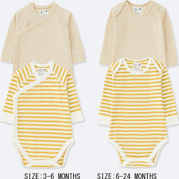 BABY CREW NECK LONG-SLEEVE BODYSUIT (2 PACK), YELLOW, large