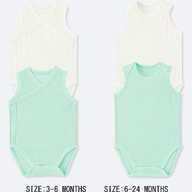 BABY AIRism MESH SLEEVELESS BODYSUIT (SET OF 2), LIGHT GREEN, medium