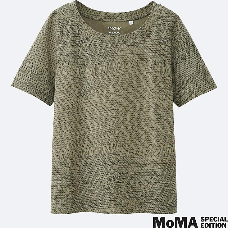 WOMEN SPRZ NY  Super Geometric GRAPHIC T-SHIRT (Gego), GREEN, large