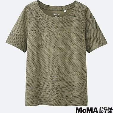 WOMEN SPRZ NY  Super Geometric GRAPHIC T-SHIRT (Gego), GREEN, medium