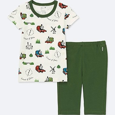 Toddler Short Sleeve Pajamas (Thomas & Friends), OLIVE, medium