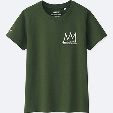WOMEN SPRZ NY JEAN-MICHEL BASQUIAT GRAPHIC T-SHIRT, OLIVE, medium