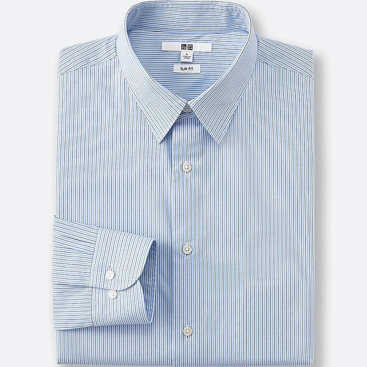 Men Easy Care Oxford Slim-Fit Dress Shirt, BLUE, large