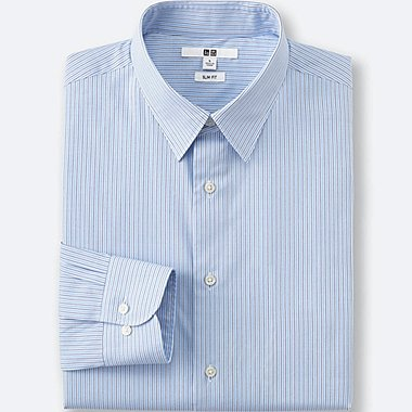 Mens Easy Care Oxford Slim-Fit Dress Shirt, BLUE, medium