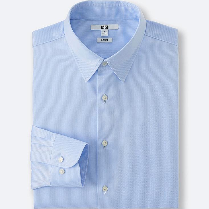 MEN'S EASY CARE SLIM-FIT DRESS SHIRT, BLUE, large