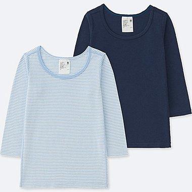TODDLER COTTON INNERWEAR LONG-SLEEVE T-SHIRT (SET OF 2), BLUE, medium