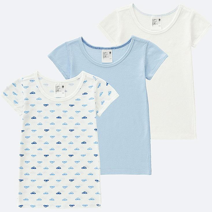 TODDLER COTTON MESH SHORT-SLEEVE T-SHIRT 3-PACK, BLUE, large