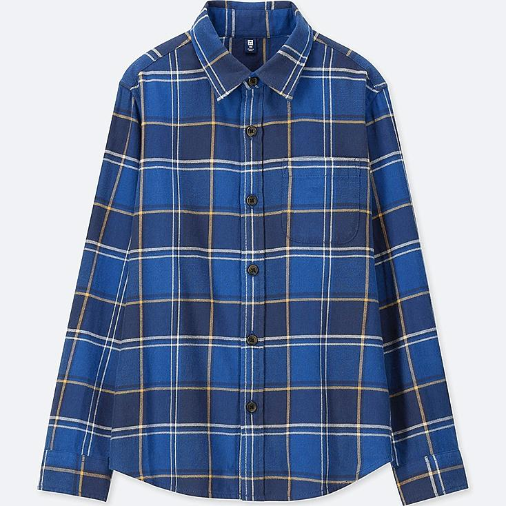 BOYS FLANNEL CHECKED LONG-SLEEVE SHIRT, BLUE, large