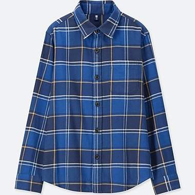 BOYS FLANNEL CHECKED LONG-SLEEVE SHIRT, BLUE, medium