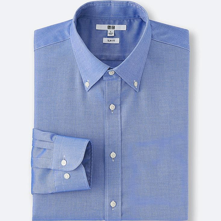MEN EASY CARE SLIM-FIT OXFORD LONG SLEEVE SHIRT, BLUE, large