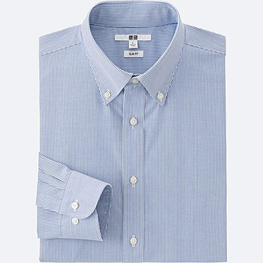 MEN EASY CARE SLIM-FIT OXFORD LONG SLEEVE SHIRT, BLUE, medium