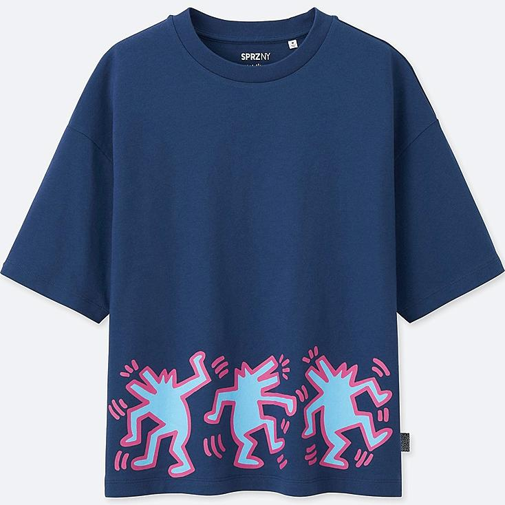 WOMEN SPRZ SHORT SLEEVE GRAPHIC T-SHIRT (KEITH HARING), BLUE, large