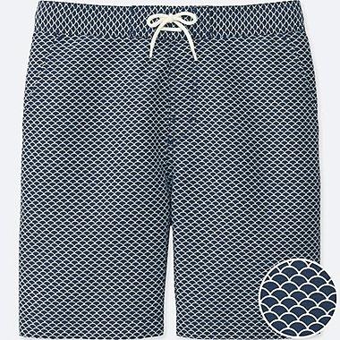 Men Swim Active Printed Shorts, BLUE, medium