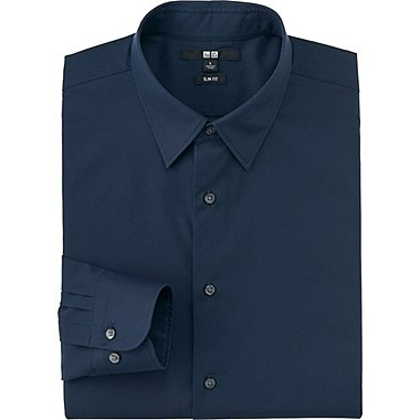 Mens Easy Care Broadcloth Slim-Fit Dress Shirt, NAVY, medium