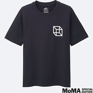 MEN SPRZ NY Super Geometric GRAPHIC T-SHIRT (SOL LEWITT), NAVY, medium