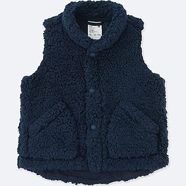 TODDLER FLUFFY YARN VEST, NAVY, medium