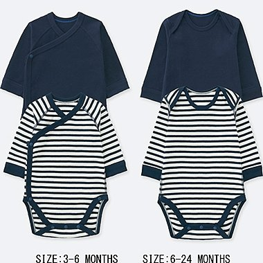 NEWBORN CREWNECK LONG-SLEEVE BODYSUIT (SET OF 2), NAVY, medium