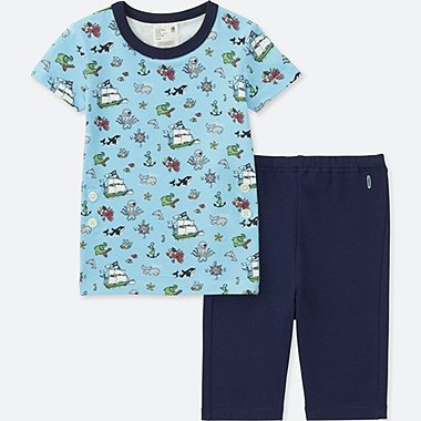 TODDLER STUDIO SANDERSON FOR UNIQLO SHORT-SLEEVE DRY PAJAMAS, NAVY, medium