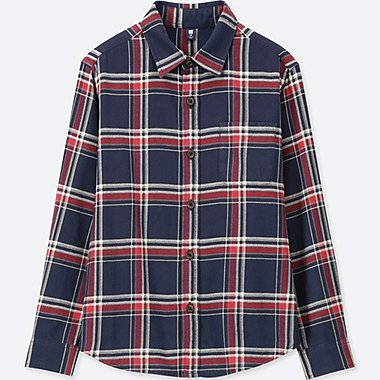 BOYS FLANNEL CHECKED LONG-SLEEVE SHIRT, NAVY, medium