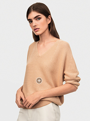 edc08a9125 3D COTTON COCOON V NECK 3 4 SLEEVED JUMPER
